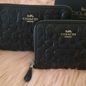 COACH Signature Leather Wristlet & Wallet SET 🆕
